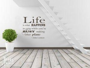 muursticker life is... 300x225 - Unieke tekst op canvas